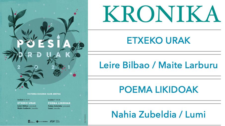 <p><em>Poesia Orduak</em>&nbsp;<em>2021</em>eko emanaldiei <strong>Pello A&ntilde;orga</strong>k eginiko kronika</p>